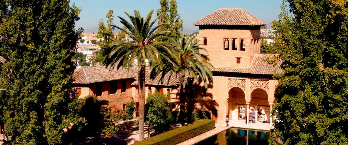 Granada. Alhambra. Palacio del Partal - Acequia, Pórtico y Torr